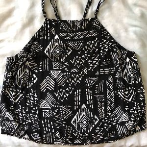 Tops - Aztec Print Cropped Blouse - XS/S